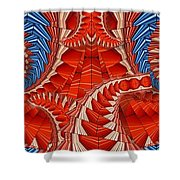 Leaf Pattern In Red Shower Curtain