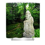 Leafy Path And Statuary Abby Aldrich Garden Shower Curtain