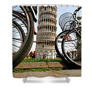 Leaning Bicycles Of Pisa Shower Curtain
