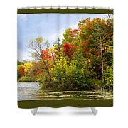Leaning Into Autumn Shower Curtain