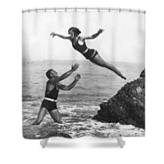 Leap Into Life Guard's Arms Shower Curtain