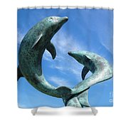 Leaping Dolphins In The Isles Of Scilly Shower Curtain