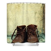 Leather Children Boots Shower Curtain
