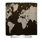 Leather Texture Map Of The World Shower Curtain