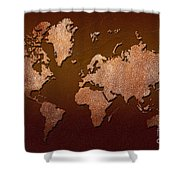Leather World Map Shower Curtain by Zaira Dzhaubaeva