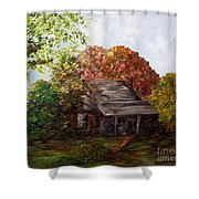 Leaves On The Cabin Roof Shower Curtain