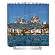 Leaving Brunnen Shower Curtain