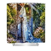 Leaving Wonderland Shower Curtain by Mo T