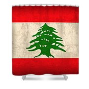 Lebanon Flag Vintage Distressed Finish Shower Curtain