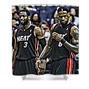 Lebron James And Dwyane Wade Shower Curtain