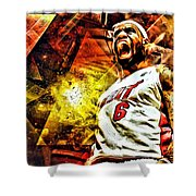 Lebron James Art Poster Shower Curtain by Florian Rodarte