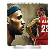 Lebron James Artwork 1 Shower Curtain by Sheraz A