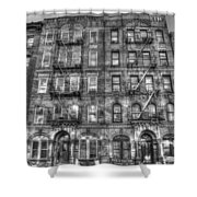 Led Zeppelin Physical Graffiti Building In Black And White Shower Curtain