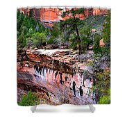 Ledge At Emerald Pools In Zion National Park Shower Curtain