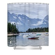 Leeks Marina In The Grand Tetons -  Shower Curtain