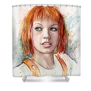 Leeloo Portrait Multipass The Fifth Element Shower Curtain by Olga Shvartsur