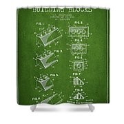 Lego Toy Building Blocks Patent - Green Shower Curtain by Aged Pixel