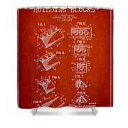 Lego Toy Building Blocks Patent - Red Shower Curtain