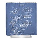 Lego Toy Building Brick Patent - Light Blue Shower Curtain