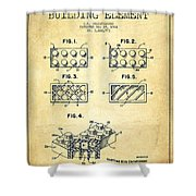 Lego Toy Building Element Patent - Vintage Shower Curtain by Aged Pixel