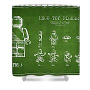 Lego Toy Figure Patent Drawing From 1979 - Green Shower Curtain