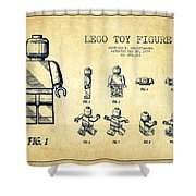 Lego Toy Figure Patent Drawing From 1979 - Vintage Shower Curtain by Aged Pixel