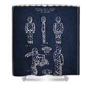 Lego Toy Figure Patent - Navy Blue Shower Curtain by Aged Pixel