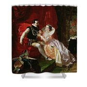 Leicester And Amy Robsart At Cumnor Shower Curtain by Edward Matthew Ward