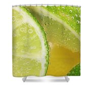 Lemon And Lime Slices In Water Shower Curtain