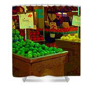 Lemons And Limes Farmers Market Food Stalls Market Vendors Vegetable Food Art Carole Spandau Shower Curtain
