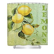 Lemons On Watercolor Shower Curtain