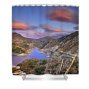 Lenticular Clouds At The Red Sunset Shower Curtain