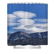 Lenticular Clouds Forming 493 Shower Curtain