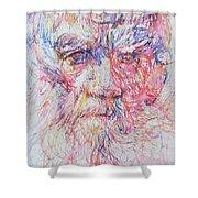 Leo Tolstoy/ Colored Pens Portrait Shower Curtain