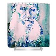 Leo Tolstoy Watercolor Portrait.2 Shower Curtain