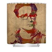 Leonard Hofstadter Watercolor Portrait Big Bang Theory On Distressed Worn Canvas Shower Curtain