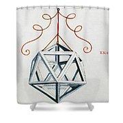 Leonardo Icosahedron Shower Curtain