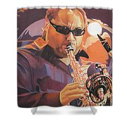 Leroi Moore Purple And Orange Shower Curtain