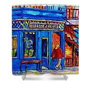 Les Belles Soeurs  Montreal Restaurant Plateau Mont Royal Painting By Carole Spandau Shower Curtain