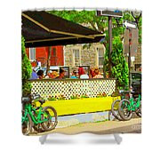 Les Folies De Montreal Cafe Resto Lounge Paris Style Bistro City Scene Carole Spandau Shower Curtain