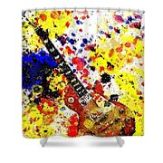 Les Paul Retro Abstract Shower Curtain
