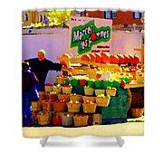 Les Pommes Fruiterie Marcel Vert Pommes Red Apples Jean Talon  Market Scenes Carole Spandau  Shower Curtain