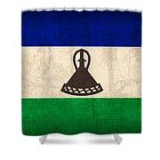 Lesotho Flag Vintage Distressed Finish Shower Curtain