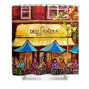 Lester's Deli Montreal Smoked Meat Paris Style French Cafe Paintings Carole Spandau Shower Curtain
