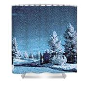 Let It Snow Blue Version Shower Curtain