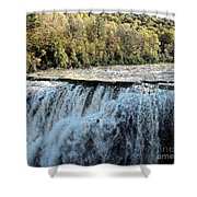 Letchworth State Park Middle Falls In Autumn Shower Curtain