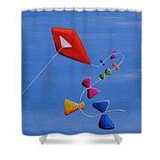 Let's Go Fly A Kite Shower Curtain by Cindy Thornton