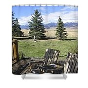 Let's Sit And Talk Awhile By Yellowstone Shower Curtain