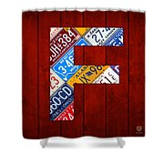 Letter F Alphabet Vintage License Plate Art Shower Curtain