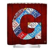 Letter G Alphabet Vintage License Plate Art Shower Curtain